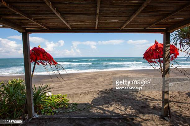 typical umbrellas on the beach in canggu, bali island, indonesia - küstenlandschaft stock pictures, royalty-free photos & images