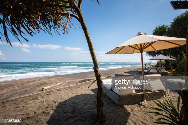typical umbrellas on the beach in canggu, bali island, indonesia - landschaft stock pictures, royalty-free photos & images