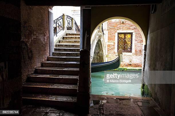 A typical Venetian street scene. Venice, Veneto, Italy