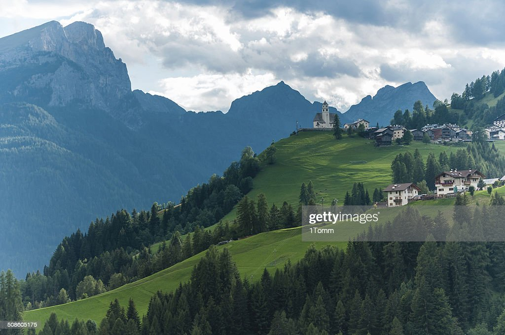 Typical view of Italien Dolomites with little curch. : Stock Photo