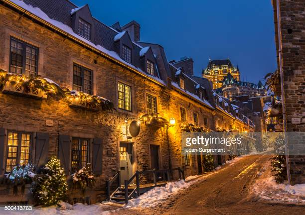 CONTENT] A typical view of place Royale in old Québec City in winter at blue hour