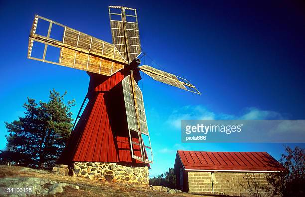 typical wooden windmill in turku - turku finland stock photos and pictures