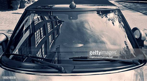 typically dutch architecture reflected in a car windscreen - toned image stock pictures, royalty-free photos & images