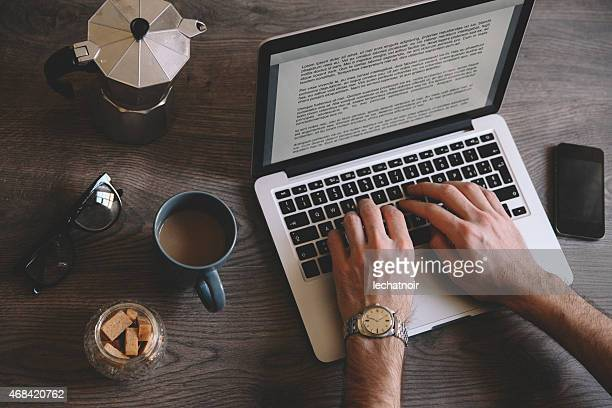 typing a novel on the computer - authors stock photos and pictures