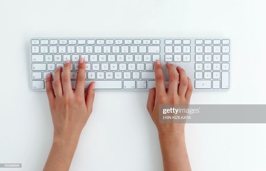 typing on keyboard. : Stock Photo