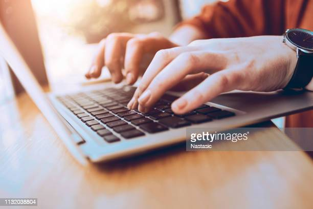 typing on laptop - log on stock photos and pictures