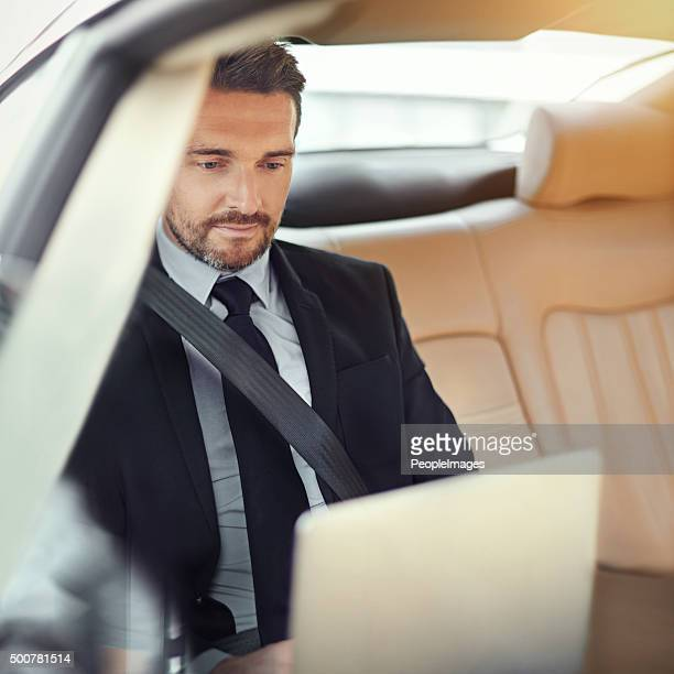 Typing up his proposal on the way into work