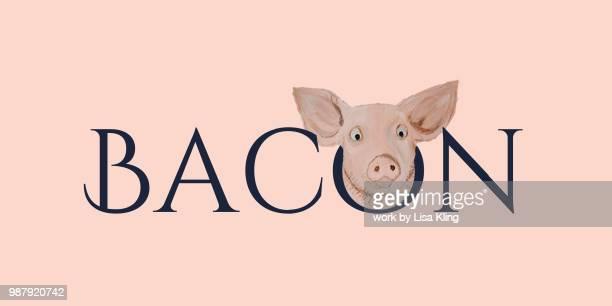 typography bacon? - breakfast cartoon ストックフォトと画像