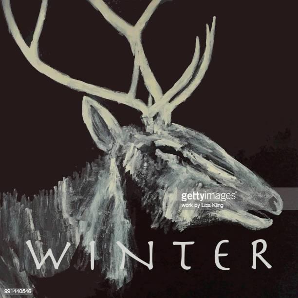 typography - winter with a bull elk silhouette - manly wilder stock-fotos und bilder