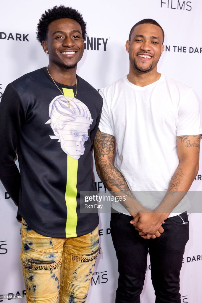 Tyquone Greer (L) and Marquise Pryor attend Magnify and Fox Sports Films' 'Shot In The Dark' premiere documentary screening and panel discussion at Pacific Design Center on February 15, 2018 in West Hollywood, California.