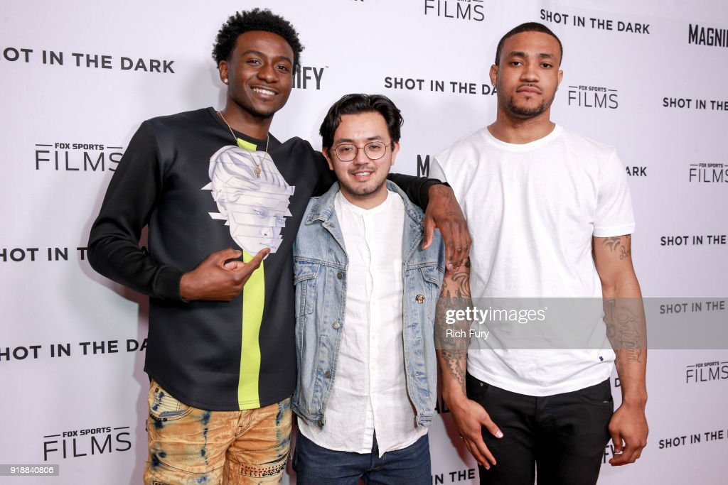 Tyquone Greer, Dustin Nakao-Haider and Marquise Pryor attend Magnify and Fox Sports Films' 'Shot In The Dark' premiere documentary screening and panel discussion at Pacific Design Center on February 15, 2018 in West Hollywood, California.