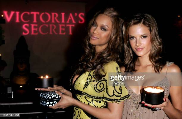 Tyra Banks and Alessandra Ambrosio during Victoria's Secret Launches Mood Home Fragrance Collection - Hosted by Tyra Banks and Alessandra Ambrosio at...
