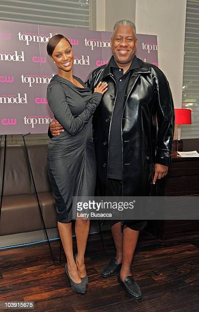 Tyra Banks and Andre Leon Talley celebrate the cycle 15 premiere of America's Next Top Model at Marea on September 8 2010 in New York City
