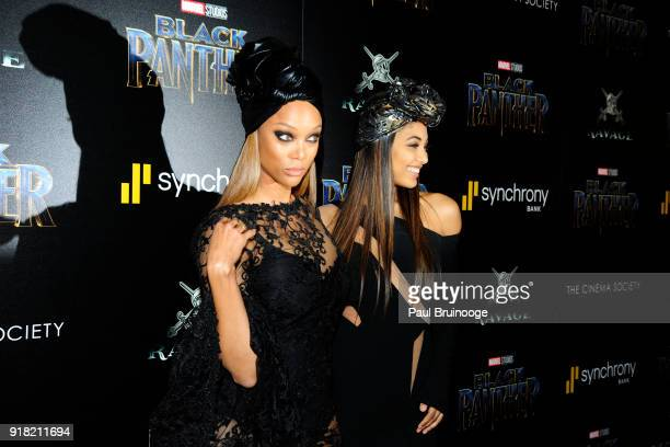 Tyra Banks and Danielle Herrington attend The Cinema Society with Ravage Wines Synchrony host a screening of Marvel Studios' 'Black Panther' at The...