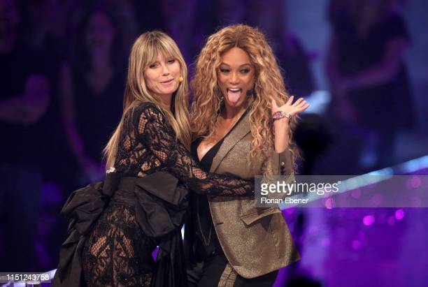 Tyra Banks and Heidi Klum at the Germany's Next Top Model finals at ISS Dome on May 23 2019 in Duesseldorf Germany