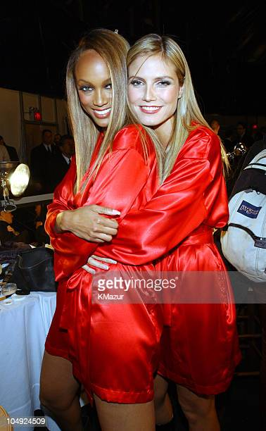 Tyra Banks and Heidi Klum backstage during The 7th Annual Victoria's Secret Fashion Show Backstage at Bryant Park in New York City New York United...