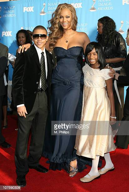 Tyra Banks and Imani Hakim during 38th Annual NAACP Image Awards Arrivals at Shrine Auditorium in Los Angeles California United States