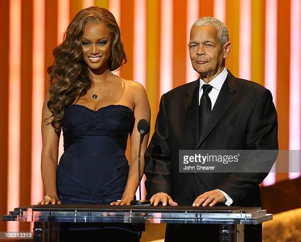 Tyra Banks and Julian Bond, NAACP Chairman, presenters