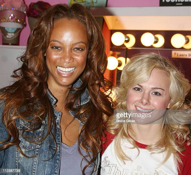 Tyra Banks and Laura Bell Bundy during Tyra Banks visits Legally Blonde on Broadway at The Palace Theatre in New York NY United States