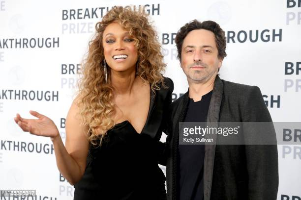 Tyra Banks and Sergey Brin attend the 2020 Breakthrough Prize at NASA Ames Research Center on November 03, 2019 in Mountain View, California.