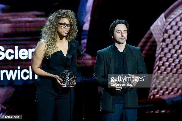 Tyra Banks and Sergey Brin speak onstage during the 2020 Breakthrough Prize at NASA Ames Research Center on November 03 2019 in Mountain View...