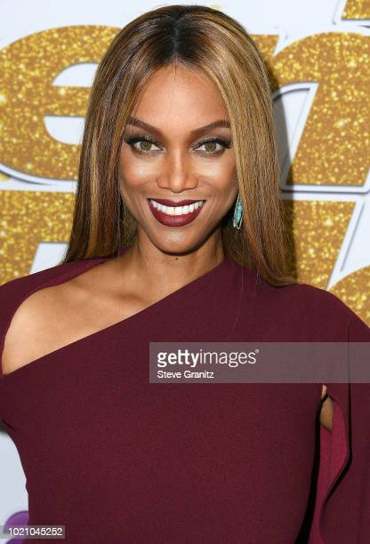 Tyra Banks arrives at 'America's Got Talent' Season 13 Live Show Red Carpet at Dolby Theatre on August 21 2018 in Hollywood California
