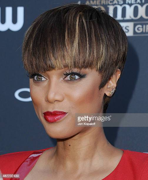 Tyra Banks arrives at America's Next Top Model Cycle 22 Premiere Party at Greystone Manor on July 28 2015 in West Hollywood California