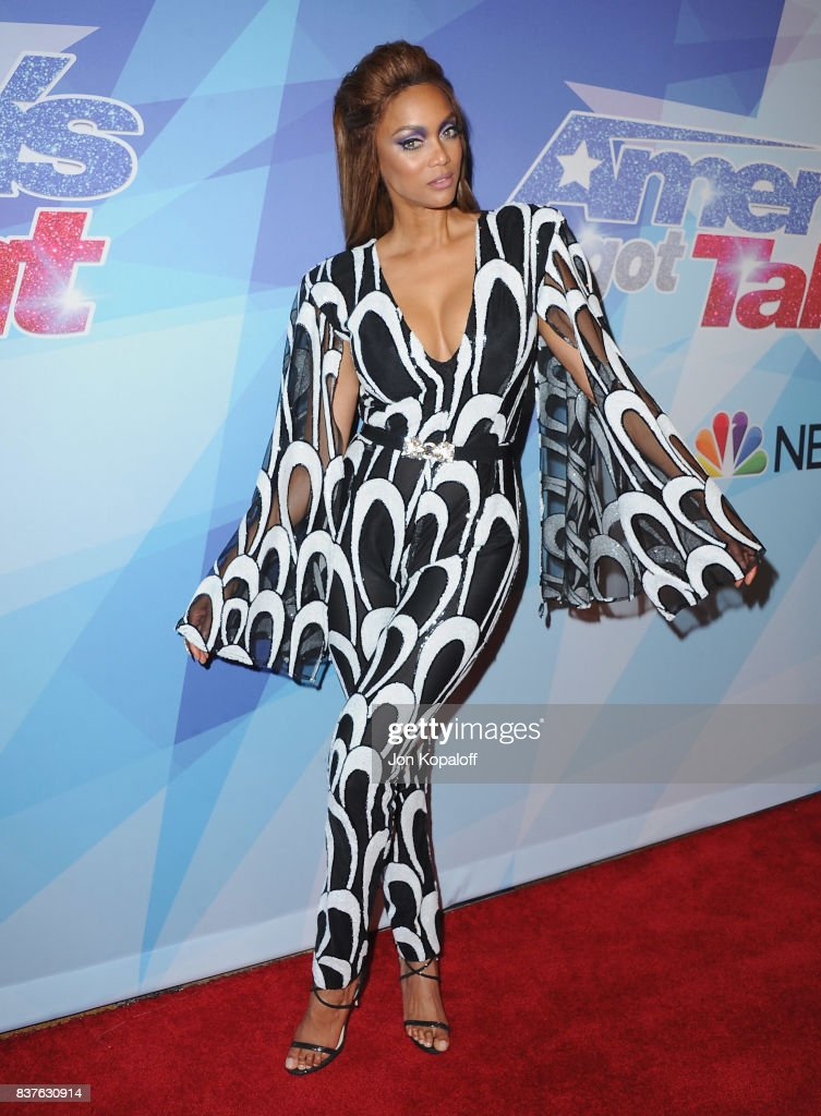 Tyra Banks arrives at NBC's 'America's Got Talent' Season 12 Live Show at Dolby Theatre on August 22, 2017 in Hollywood, California.