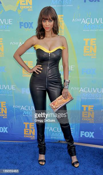 Tyra Banks arrives at Teen Choice 2011 at the Gibson Amphitheatre on August 7 2011 in Universal City California