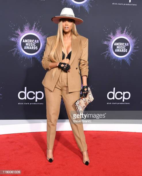 Tyra Banks arrives at the 2019 American Music Awards at Microsoft Theater on November 24 2019 in Los Angeles California