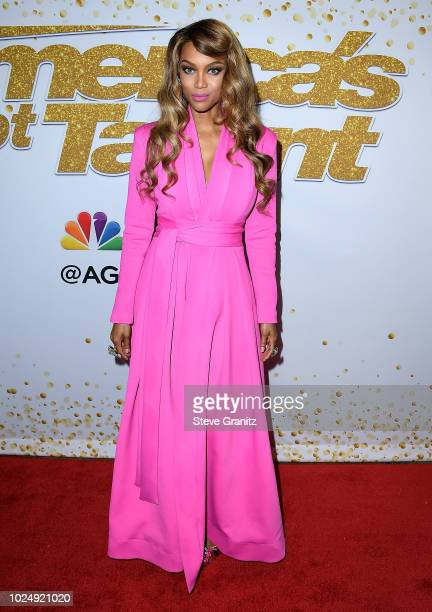 Tyra Banks arrives at the America's Got Talent Season 13 Live Show Red Carpet at Dolby Theatre on August 28 2018 in Hollywood California
