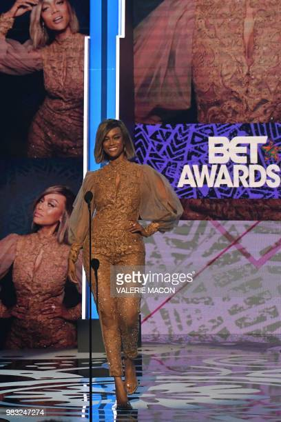 Tyra Banks arrives onstage during the BET Awards at Microsoft Theatre in Los Angeles California on June 24 2018