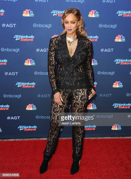 "Tyra Banks attends NBC's ""America's Got Talent"" season 12 kickoff at Pasadena Civic Auditorium on March 27, 2017 in Pasadena, California."