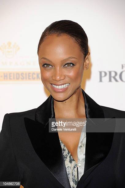 Tyra Banks attends Roberto Cavalli Party Range Rover Outside Arrivals PFW S/S 2011 at Les BeauxArts de Paris on September 29 2010 in Paris France