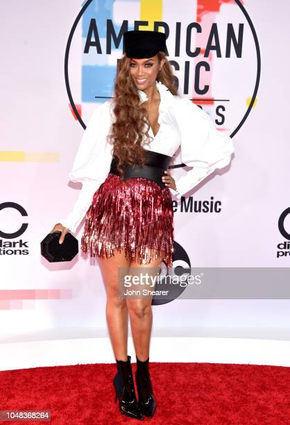 Tyra Banks attends the 2018 American Music Awards at Microsoft Theater on October 9 2018 in Los Angeles California
