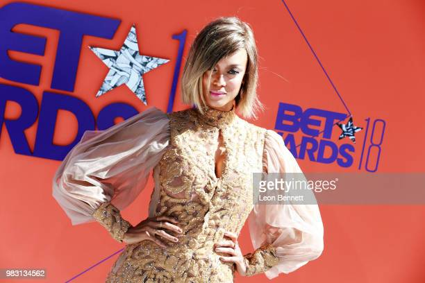 Tyra Banks attends the 2018 BET Awards at Microsoft Theater on June 24 2018 in Los Angeles California