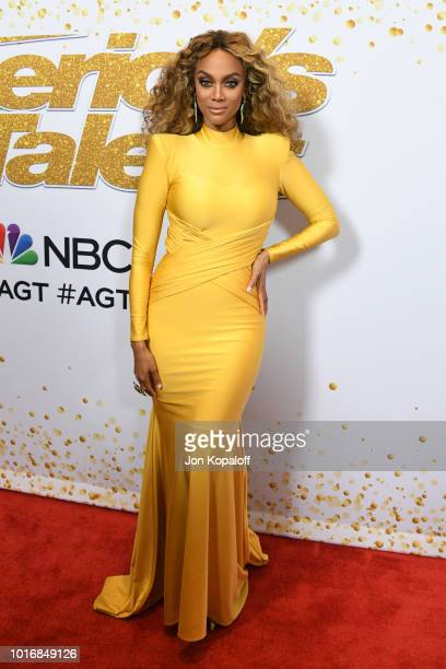 Tyra Banks attends 'America's Got Talent' Season 13 Live Show Red Carpet at Dolby Theatre on August 14 2018 in Hollywood California
