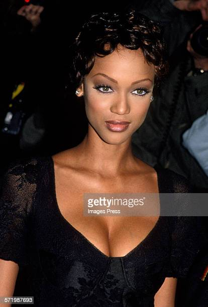Tyra Banks attends the Grand Opening of The Fashion Cafe circa 1995 in New York City