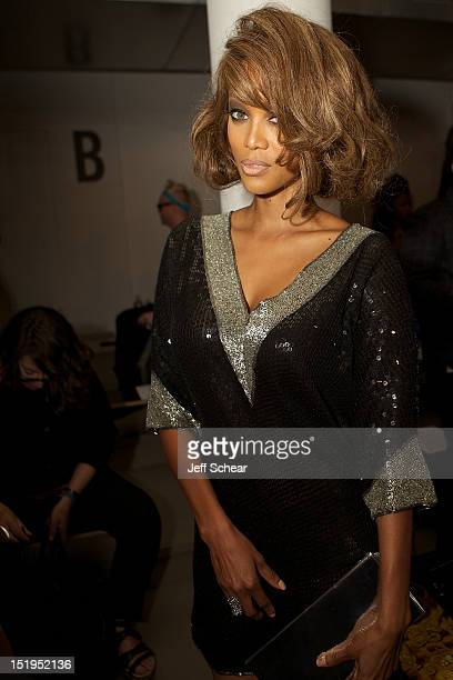 Tyra Banks attends the Jeremy Scott spring 2013 fashion show during Mercedes-Benz Fashion Week at Milk Studios on September 12, 2012 in New York City.