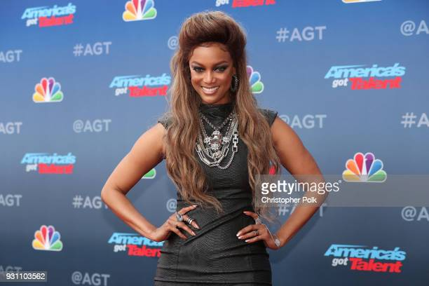 Tyra Banks attends the red carpet kickoff for 'America's Got Talent' season 13 at Pasadena Civic Auditorium on March 12 2018 in Pasadena California