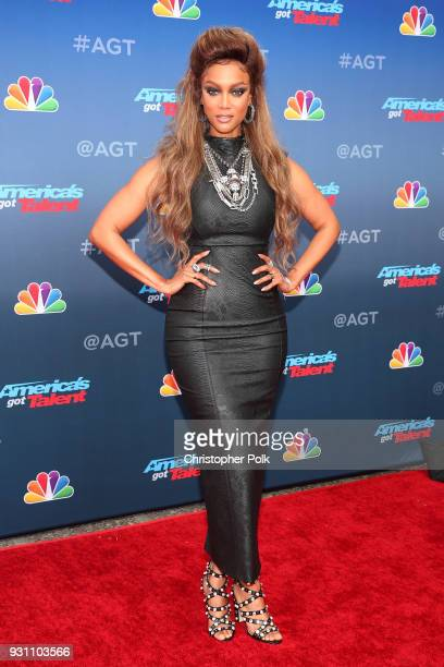 Tyra Banks attends the red carpet kickoff for America's Got Talent season 13 at Pasadena Civic Auditorium on March 12 2018 in Pasadena California