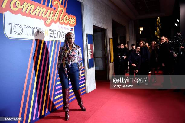 Tyra Banks attends the Tommy Hilfiger TOMMYNOW Spring 2019 TommyXZendaya Premieres at Theatre des ChampsElysees on March 02 2019 in Paris France