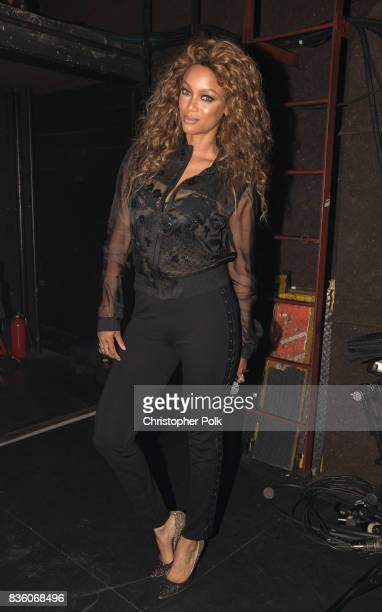 Tyra Banks backstage at The Fonda Theatre on August 20 2017 in Los Angeles California