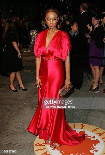 Tyra Banks during 2007 Vanity Fair Oscar Party Hosted by Graydon Carter Arrivals at Mortons in West Hollywood California United States