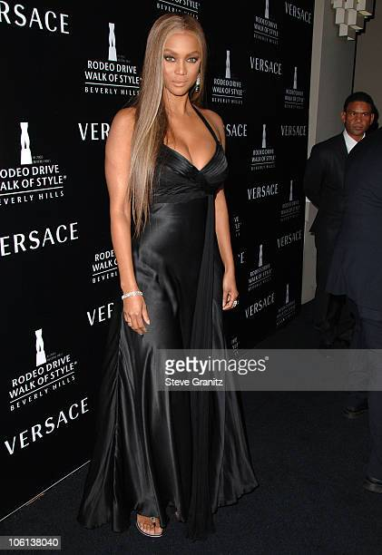 Tyra Banks during Gianni And Donatella Versace Receive Rodeo Drive Walk Of Style Award Arrivals at Beverly Hills City Hall in Beverly Hills...