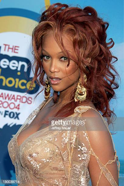 Tyra Banks during The 2004 Teen Choice Awards Arrivals at Universal Ampitheatre in Universal City California United States
