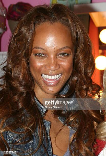 Tyra Banks during Tyra Banks visits Legally Blonde on Broadway at The Palace Theatre in New York NY United States