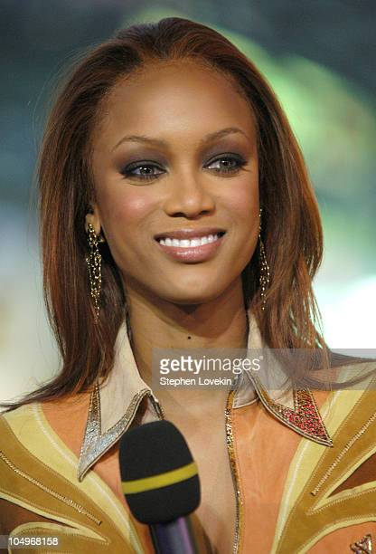 Tyra Banks during Tyra Banks visits MTV's TRL Studios at MTV Studios in New York City, New York, United States.