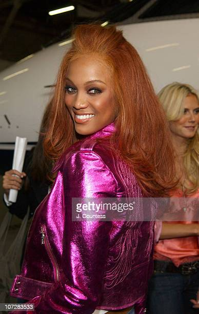 "Tyra Banks during Victoria's Secret Supermodels Kick Off Cross-Country ""Angels Across America"" Tour at Teterboro Airport in Hasbrouck Heights, New..."
