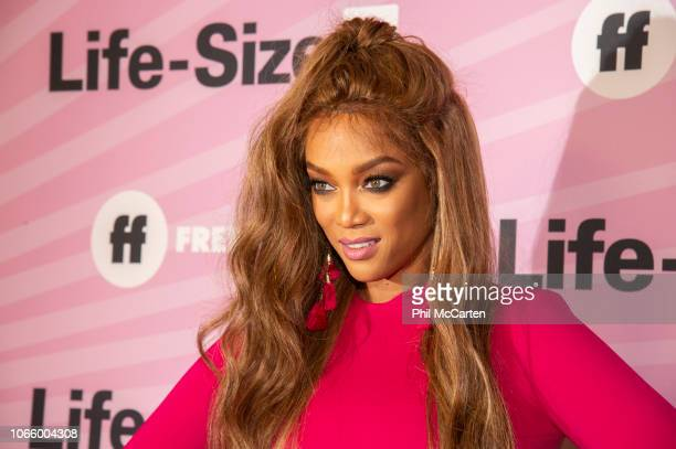 "Tyra Banks, Francia Raisa, the cast of ""Life-Size 2: A Christmas Eve"" and talent from across the Freeform family attend the pink carpet premiere...."